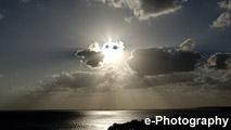 海 光 水平線 太陽 夕暮れ