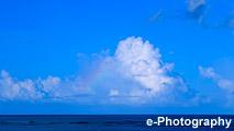 海 波 水 水平線 雲 虹