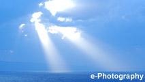 海 波 光 水平線 太陽